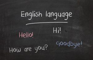 English language on a blackboard