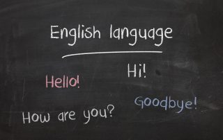 English language on a blackboard