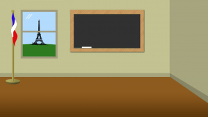 A picture of French flag, Eiffel tower, and a blackboard